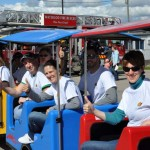 CHCA Volunteers ride the train at the Fall Fun Fest