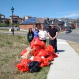 Spring clean up day with volunteers and bags of garbage collected